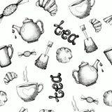 Naadloos patroon met theeelementen Vectorillustratie voor behangontwerp, achtergrond, druk, verpakking, banner vector illustratie