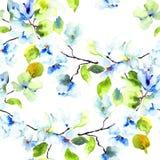 Naadloos patroon met Tot bloei komende boombrunch Stock Fotografie