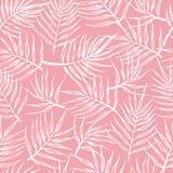 Naadloos patroon met tropische bladeren op een roze achtergrond vector illustratie