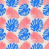 Naadloos patroon met tropische bladeren: palmen, monstera, naadloze vector het patroonachtergrond van het wildernisblad Swimwear  vector illustratie