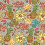 Naadloos patroon met tropische bloemen Stock Afbeelding