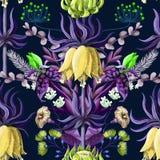 Naadloos patroon met tropische bloemen in blauwe kleur en symmetriesamenstelling vector illustratie