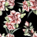 Naadloos patroon met tropische bloemen De illustratie van de waterverf Stock Foto