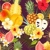 Naadloos patroon met tropische vruchten Stock Fotografie