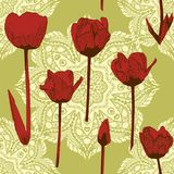 Naadloos patroon met tulpen en mandalas, wijnoogst, grunge achtergrond Perfectioneer voor druk op stof, verpakkend document enz. vector illustratie