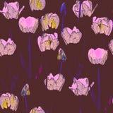 Naadloos patroon met tulpen, wijnoogst, grunge achtergrond Perfectioneer voor druk op stof, verpakkend document enz. vector illustratie