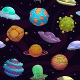 Naadloos patroon met ufos en fantastische planeten stock illustratie