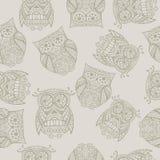 Naadloos patroon met uil Royalty-vrije Stock Foto