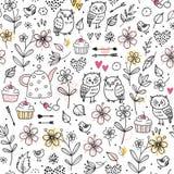 Naadloos patroon met uilen, bloemen, cupcakes, pijlen, kersen, harten Grappige vectorillustratie Hand getrokken elementen vector illustratie