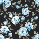 Naadloos patroon met uitstekende blauwe rozen op blauwe achtergrond Royalty-vrije Stock Foto's