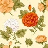 Naadloos patroon met uitstekende bloemen. Royalty-vrije Stock Afbeeldingen