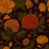 Naadloos patroon met uitstekende bloemen. Stock Fotografie