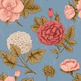 Naadloos patroon met uitstekende bloemen. Stock Afbeeldingen