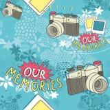 Naadloos patroon met uitstekende camera royalty-vrije illustratie