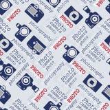 Naadloos patroon met uitstekende camera's Stock Foto