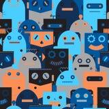 Naadloos patroon met uitstekende robots stock illustratie