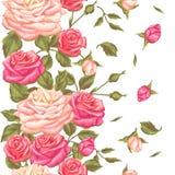 Naadloos patroon met uitstekende rozen Decoratieve retro bloemen Makkelijk te gebruiken voor achtergrond, textiel, verpakkend doc vector illustratie
