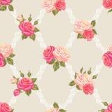 Naadloos patroon met uitstekende rozen Decoratieve retro bloemen Makkelijk te gebruiken voor achtergrond, textiel, verpakkend doc royalty-vrije illustratie