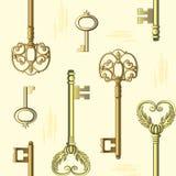 Naadloos patroon met uitstekende sleutels royalty-vrije illustratie