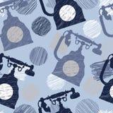 Naadloos patroon met uitstekende telefoon en gekrabbel elenents royalty-vrije illustratie