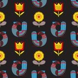 Naadloos patroon met van fantasievogels en bloemen Skandinavisch varkenskot Stock Fotografie