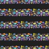 Naadloos patroon met van van waterverf oceanic vissen, koralen en zeewieren ornament stock illustratie