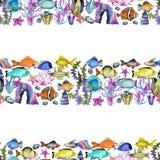 Naadloos patroon met van van waterverf oceanic vissen, koralen en zeewieren ornament vector illustratie