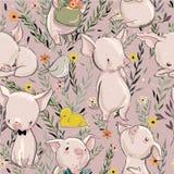 Naadloos patroon met varkens royalty-vrije illustratie