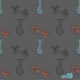 Naadloos patroon met vazen en bloemen Stock Foto