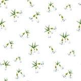 Naadloos patroon met vele sneeuwklokjesbloemen met groene bladeren zelfde grootte Witte achtergrond Vector illustratie Royalty-vrije Stock Foto