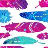 Naadloos patroon met veren in etnische stijl, helder behang Royalty-vrije Stock Fotografie