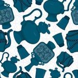 Naadloos patroon met verfraaid oostelijk aardewerk Stock Afbeeldingen