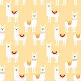 Naadloos patroon met verfraaide lama's In beeldverhaaldruk stock illustratie