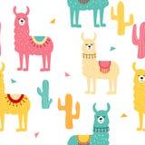 Naadloos patroon met verfraaide lama's en cactus In beeldverhaaldruk Roze, geel, blauw dier op witte achtergrond royalty-vrije illustratie