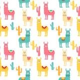 Naadloos patroon met verfraaide lama's in poncho en cactus In beeldverhaaldruk royalty-vrije illustratie
