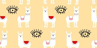 Naadloos patroon met verfraaide lama's in poncho vector illustratie