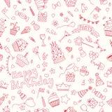 Naadloos patroon met Verjaardagselementen Backgrou van de verjaardagspartij Stock Afbeelding