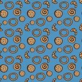 Naadloos patroon met verschillende bakkerijproducten Royalty-vrije Stock Foto's