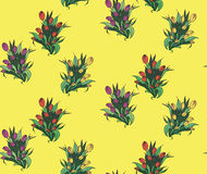 Naadloos patroon met verschillende bouquettes van tulpen Royalty-vrije Stock Fotografie
