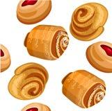 Naadloos patroon met verschillende cakes Stock Foto
