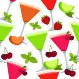 Naadloos patroon met verschillende cocktails Stock Foto