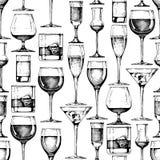 Naadloos patroon met verschillende glazendrinkbekers royalty-vrije illustratie