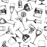 Naadloos patroon met verschillende glazendrinkbekers vector illustratie