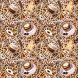 Naadloos patroon met verschillende koffiedranken en snoepjes op witte achtergrond stock illustratie