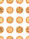 Naadloos patroon met verschillende pizza Het kan voor prestaties van het ontwerpwerk noodzakelijk zijn Gestileerd beeldverhaal Royalty-vrije Stock Foto's