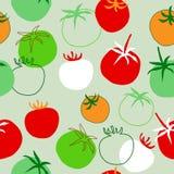 Naadloos patroon met verschillende tomaten Stock Afbeelding