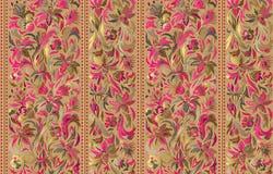 Naadloos patroon met verticale strepen en het bloemenornament van de handtekening Vectorbehang royalty-vrije illustratie