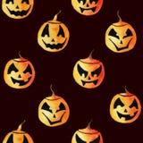 Naadloos patroon met vier verschillende leuke lantaarns van de waterverfpompoen voor Halloween-ontwerp vector illustratie