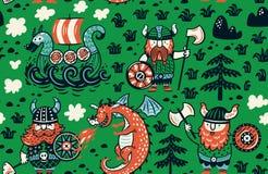 Naadloos patroon met Vikingen voor ontwerpstof, achtergronden, verpakkend document stock illustratie