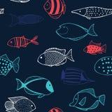 Naadloos patroon met vissen Stock Foto